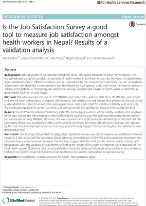 Is the Job Satisfaction Survey a good tool to measure job satisfaction amongst health workers in Nepal - Results of a validation analysis