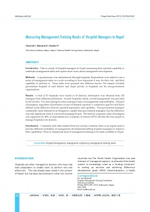Measuring Management Training Needs of Hospital Managers in Nepal