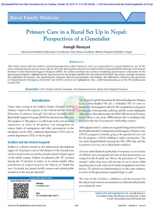 Primary Care in a Rural Set Up in Nepal Perspectives of a Generalist
