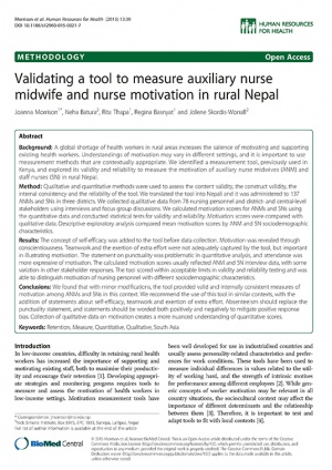 Validating a Tool to Measure Auxiliary Nurse Midwife and Nurse Motivation in Rural Nepal